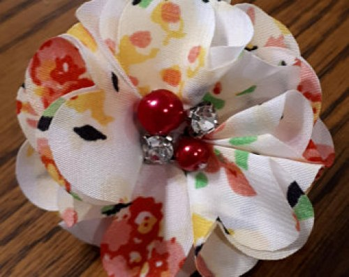 Dog Collar Flower White Patterned