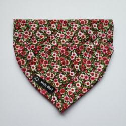 Dog Bandana Red Flowers (collar through)