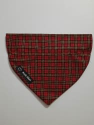 Dog Bandana Red and Gold Tartan (collar through)