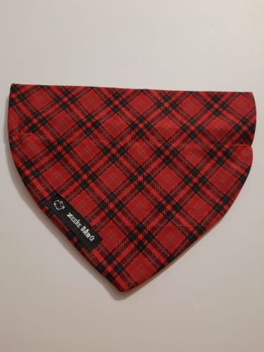 Dog Bandana Christmas Plaid (collar through)