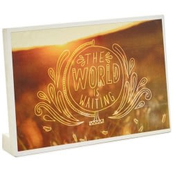 World Is Waiting Gift Card Holder Wood Quote Sign