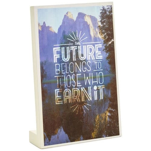 Earn Your Future Gift Card Holder Wood Quote Sign