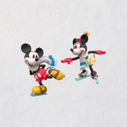 Disney Mickey and Minnie Mice on Ice Ornaments