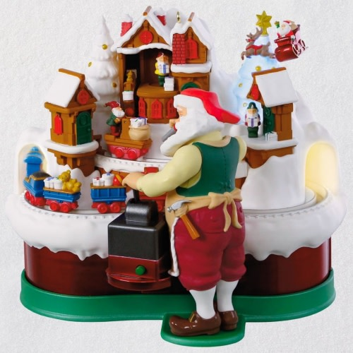 Santa's Magic Train Musical Ornament With Light and Motion