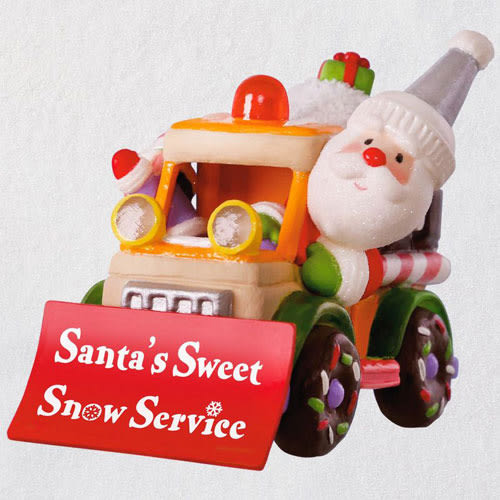 Santa's Sweet Snow Plow Musical Ornament With Light