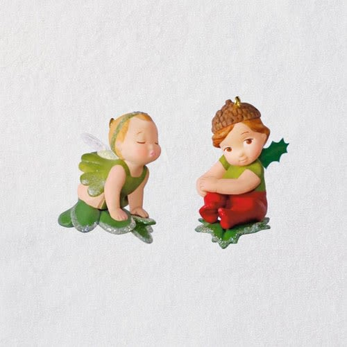 Baby Fairy Messengers Mistletoe and Holly Ornaments
