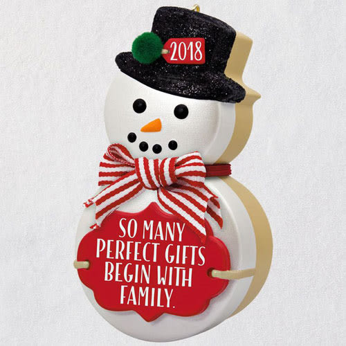 The Gift of Family Snowman 2018 Ornament