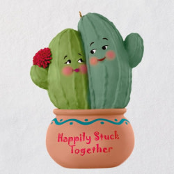 Happily Stuck Together Cactus Ornament