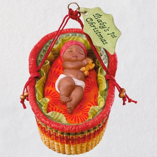 African-American Baby's First Christmas 2018 Porcelain Ornament