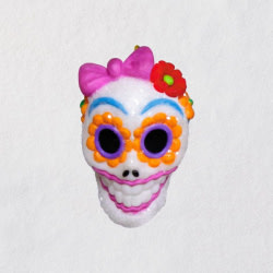 Mini Sugar Skull Gal Halloween Ornament