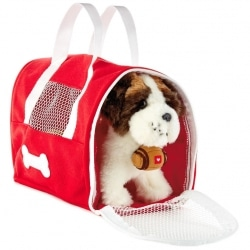 Saint Bernard Dog Stuffed Animal With Carrier, 6.5