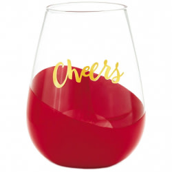 Cheers Dipped Stemless Wine Glass