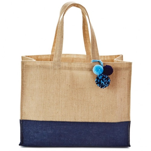 Blue-Dipped Burlap Large Gift Bag With Pom-Poms