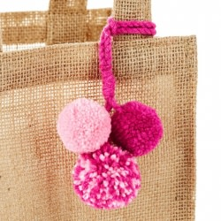 Pink-Dipped Burlap Small Gift Bag With Pom-Poms