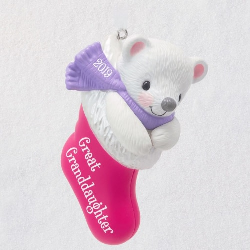 Great-Granddaughter Bear in Christmas Stocking 2019 Ornament