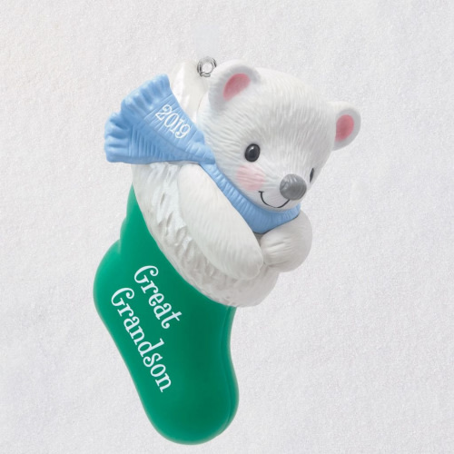 Great-Grandson Bear in Christmas Stocking 2019 Ornament