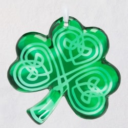 Luck O' the Irish Shamrock Glass Ornament