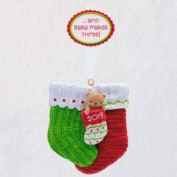 Baby Makes Three Christmas Stocking 2019 Ornament