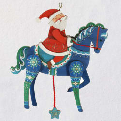 Pull-String Horse With Santa Wood Ornament
