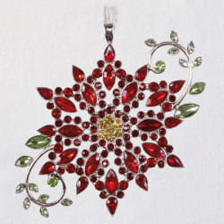 Sparkling Poinsettia Gemstone and Metal Ornament