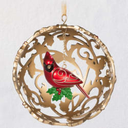 Majestic Cardinal Metal Ornament