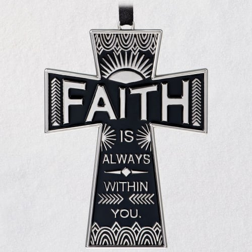 Faith Always Cross Metal Ornament