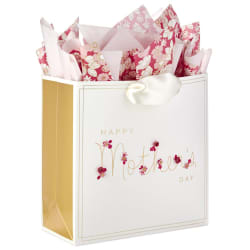 Cursive Floral Mother's Day Large Gift Bag With Tissue