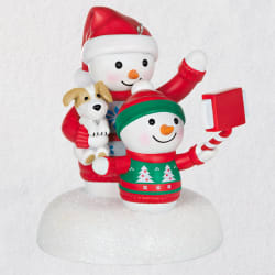 Cozy Christmas Selfie Snowman Musical Ornament