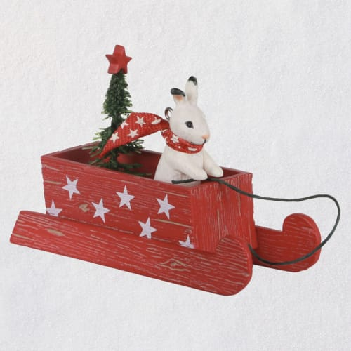 Marjolein's Garden Sledding Snow Bunny Keepsake Ornament