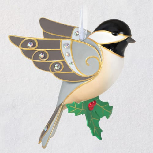 Beautiful Black-Capped Chickadee Porcelain Ornament