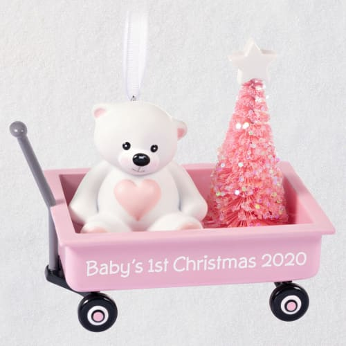 Baby Girl's First Christmas Pink Wagon 2020 Ornament