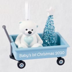 Baby Boy's First Christmas Pink Wagon 2020 Ornament