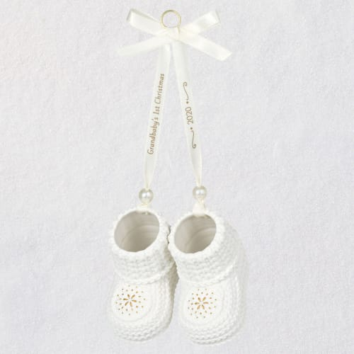 Grandbaby's 1st Christmas Booties 2020 Porcelain Ornament
