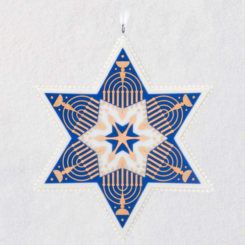 Hanukkah Blessings Star of David Porcelain Ornament