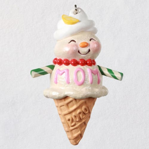 Moms Are Sweet Snow Lady Ice Cream Cone Ornament
