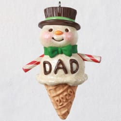 Dads Are Sweet Snowman Ice Cream Cone Ornament