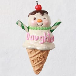 Daughters Are Sweet Snow Girl Ice Cream Cone Ornament