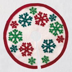 Miniature Red and Green Snowflakes Christmas Tree Skirt