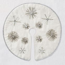 Miniature Ivory and Silver Snowflakes Christmas Tree Skirt