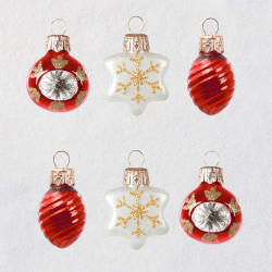 Mini Decorative Baubles Glass Ornaments, Set of 6