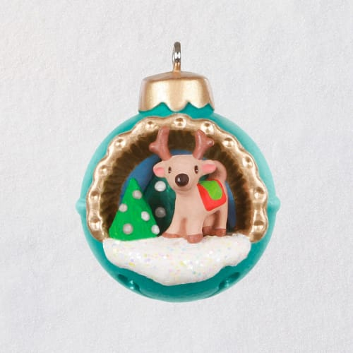 Mini A World Within Reindeer in Jingle Bell Ornament