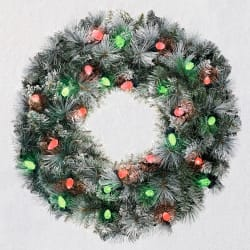 Sound-a-Light Flocked Christmas Wreath With Lights, 24
