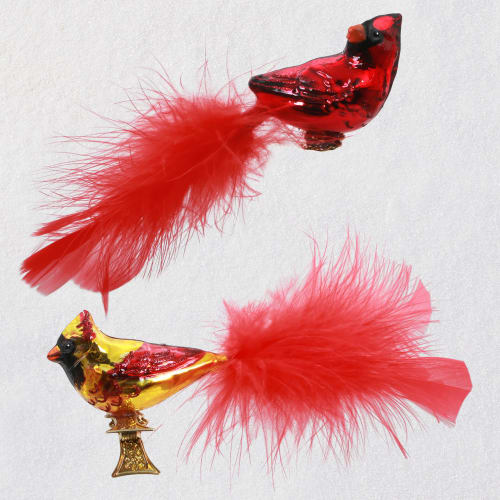 Cute Cardinal Couple Blown Glass Ornaments
