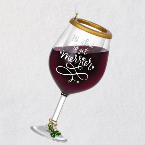 Holiday Cheer Wine Glass Ornament