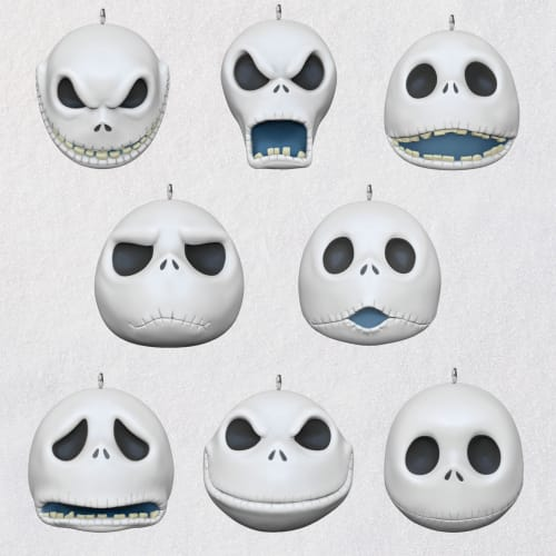 Mini The Many Faces of Jack Skellington Porcelain Ornaments