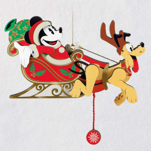 Disney Mickey and Pluto Oh, What Fun! Pull-String Ornament