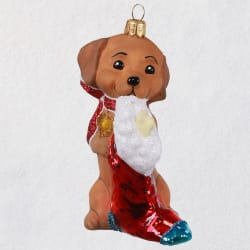 Adorable Dachshund Blown Glass Ornament