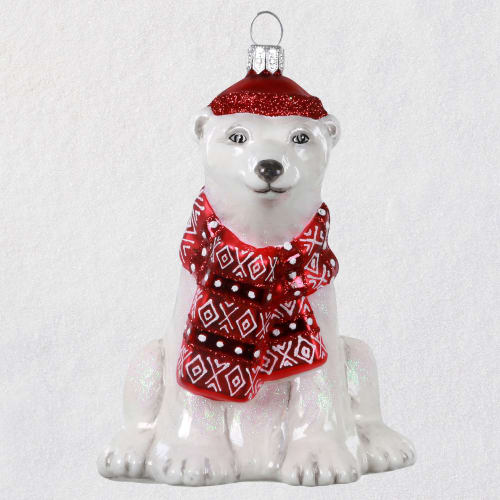 Dapper Polar Bear Blown Glass Ornament