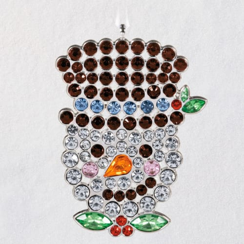 Stunning Snowman Gemstone and Metal Ornament