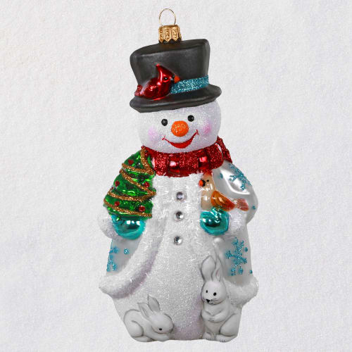 Jolly Snowman Blown Glass Ornament